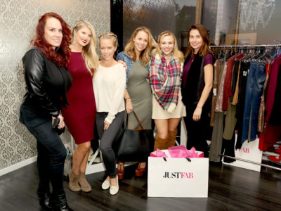 BEVERLY HILLS, CA - DECEMBER 14:  (L-R) Jojo McCarthy, Kira Cohen, Kendra Wilkinson, Jessica Hall,  Julie Solomon, and Staci Hall attend the JustFab and ShoeDazzle Get Glam For The Holidays Event at Maven Beverly Hills on December 14, 2015 in Beverly Hills, California.  (Photo by Rachel Murray/Getty Images for JUSTFAB.com)